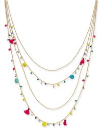 """INC International Concepts - I.n.c. Gold-tone Multicolor Bead & Tassel Layered Necklace, 28"""" + 3"""" Extender, Created For Macy's - Lyst"""