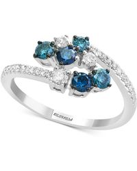 Effy Collection - Effy® Shades Of Bleu Diamond Cluster Bypass Ring (3/4 Ct. T.w.) In 14k White Gold - Lyst