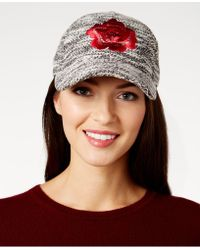 August Accessories - Floral-embroidered Bouclé Baseball Cap - Lyst