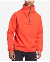 DKNY - Drop-shoulder 1/4-zip Funnel-neck Sweatshirt - Lyst