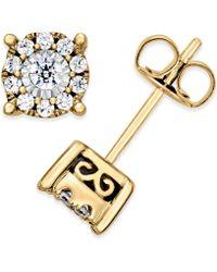 Macy's - Diamond Halo 14k White-Gold Stud Earrings  - Lyst