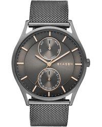 Skagen - Men's Holst Smoke-tone Stainless Steel Mesh Bracelet Watch 40mm Skw6180 - Lyst