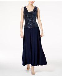 R & M Richards - Metallic Sequined A-line Dress - Lyst