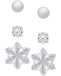 Macy's | 3-pc. Stud Earrings Set In Sterling Silver | Lyst
