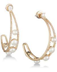 """Carolee - Gold-tone Crystal & Freshwater Pearl 1 1/2"""" Open Hoop Earrings - Lyst"""