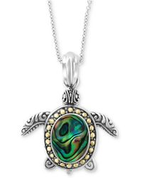 """Effy Collection - Effy® Paua Shell Turtle 18"""" Pendant Necklace In Sterling Silver & 18k Gold - Lyst"""