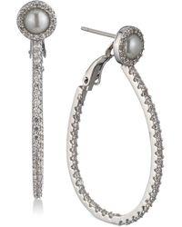 Carolee | Silver-tone Pavé & Imitation Pearl Drop Hoop Earrings | Lyst