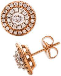 Macy's - Diamond Halo Stud Earrings (1 Ct. T.w.) In 14k Rose & White Gold - Lyst