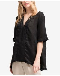 DKNY - Linen Frayed-trim Top, Created For Macy's - Lyst
