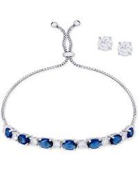 Macy's - 2-pc. Set Cubic Zirconia Slider Bracelet & Stud Earrings In Fine Silver-plate - Lyst