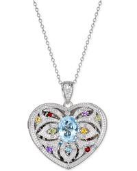 Macy's | Multi-gemstone (2 Ct. T.w.) And Diamond (1/10 Ct. T.w.) Filigree Locket Pendant Necklace In Sterling Silver | Lyst