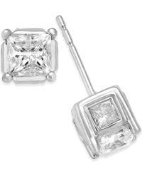 Macy's - Diamond (2 Ct. T.w.) Stud Earrings In 14k Yellow Or White Gold - Lyst