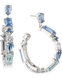 Carolee - Silver-tone Crystal Drop Hoop Earrings - Lyst