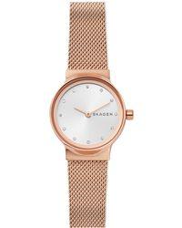 Skagen | Women's Freja Rose Gold-tone Stainless Steel Bracelet Watch | Lyst