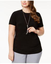 Anne Klein - Plus Size Shirred T-shirt - Lyst