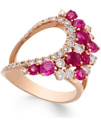 Macy's - Ruby (1-5/8 Ct. T.w.) And Diamond (3/4 Ct. T.w.) Ring In 14k Rose Gold - Lyst