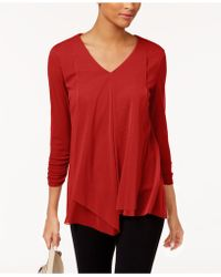 Alfani - Petite Draped-front Top, Created For Macy's - Lyst