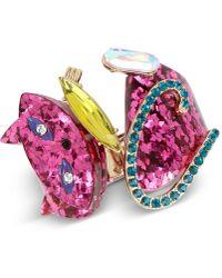 Betsey Johnson - Gold-tone Multi-stone Pink Cat Hinged Bangle Bracelet - Lyst