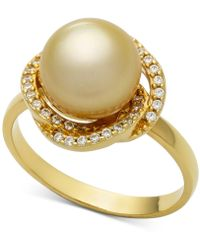 Macy's - Cultured Golden South Sea Pearl (9mm) & Diamond (1/5ct. T.w.) Ring In 14k Gold - Lyst