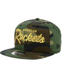 brand new 00f28 2c57a KTZ Houston Rockets Overspray 9fifty Snapback Cap in Green for Men - Lyst