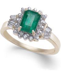 Macy's - Emerald (9/10 Ct. T.w.) & Diamond (1/4 Ct. T.w.) Ring In 14k Gold - Lyst