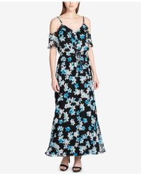 CALVIN KLEIN 205W39NYC - Printed Ruffled Cold-shoulder Maxi Dress - Lyst