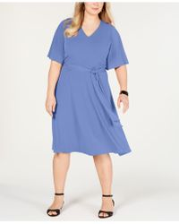 Charter Club Plus Size Semi-fitted Midi Dress, Created For Macy's - Blue