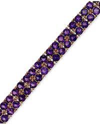 Macy's - Amethyst Two-row Bracelet In 14k Rose Gold Over Sterling Silver (14-1/10 Ct. T.w.) - Lyst