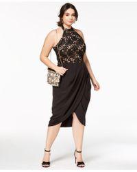City Chic - Trendy Plus Size Lady Portia Faux-wrap Halter Dress - Lyst