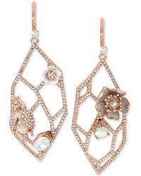 Betsey Johnson - Rose Gold-tone Crystal & Imitation Pearl Openwork Drop Earrings - Lyst