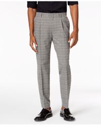 INC International Concepts - Slim Tapered-fit Stretch Plaid Pleated Trousers, Created For Macy's - Lyst