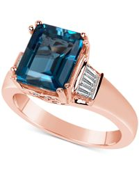 Macy's - London Blue Topaz (5 Ct. T.w.) & Diamond (3/8 Ct. T.w.) In 14k Rose Gold - Lyst
