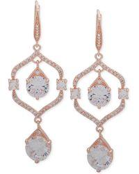 Anne Klein - Crystal Orbital Double Drop Earrings - Lyst