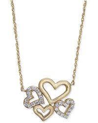 Macy's - Diamond Multi-heart Pendant Necklace (1/5 Ct. T.w.) In 14k Gold - Lyst