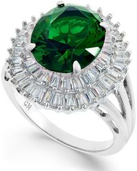 Macy's - Synthetic Emerald & Cubic Zirconia Double Halo Ring In Sterling Silver - Lyst