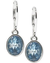 Anne Klein - Silver-tone Oval Stone Drop Earrings - Lyst