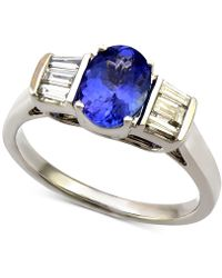 Macy's - Tanzanite (1-1/5 Ct. T.w.) And Diamond (1/3 Ct. T.w.) Ring In 14k White Gold - Lyst