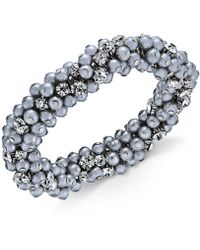 Charter Club - Silver-tone Crystal & Gray Imitation Pearl Cluster Bracelet - Lyst