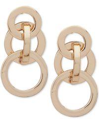 Anne Klein - Gold-tone Interlocking Circles Drop Earrings - Lyst
