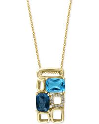 Effy Collection - Blue Topaz (3-1/4 Ct. T.w.) And Diamond Accent Pendant Necklace In 14k Gold - Lyst