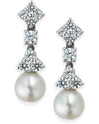 Arabella - Cultured Freshwater Pearl (7mm) And Swarovski Zirconia (1-5/8 Ct. T.w.) Drop Earrings In Sterling Silver - Lyst