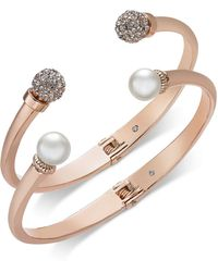 Charter Club - 2-pc. Set Pavé Bead & Imitation Pearl Cuff Bracelets, Created For Macy's - Lyst