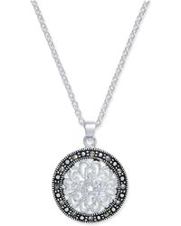 Macy's - Marcasite & Crystal Flower Disc Pendant Necklace In Fine Silver-plate - Lyst