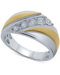 Macy's - Men's Diamond Two-tone Ring (1/10 Ct. T.w.) In Sterling Silver & 14k Gold-plated Sterling Silver - Lyst