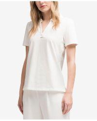 DKNY - Short-sleeve Ribbed-collar Polo, Created For Macy's - Lyst