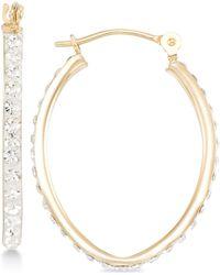 Macy's - Crystal Pavé Tapered Hoop Earring In 10k Gold - Lyst