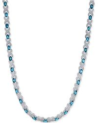 Macy's - Blue Topaz (20 Ct. T.w.) And Diamond Accent Collar Necklace In Sterling Silver - Lyst