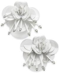Kate Spade - Sequin & Bead Leather Flower Statement Earrings - Lyst