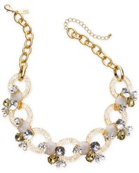 """INC International Concepts - I.n.c. Gold-tone Crystal & Stone Link Statement Necklace, 19"""" + 3"""" Extender, Created For Macy's - Lyst"""