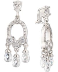 Carolee - Silver-tone Cubic Zirconia Clip-on Chandelier Earrings - Lyst